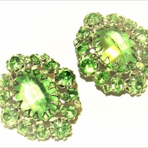 Vintage Faux Peridot Crystal Clip Earrings